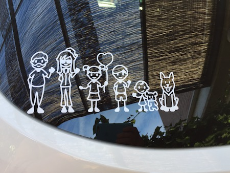Decal maker used to create family car sticker